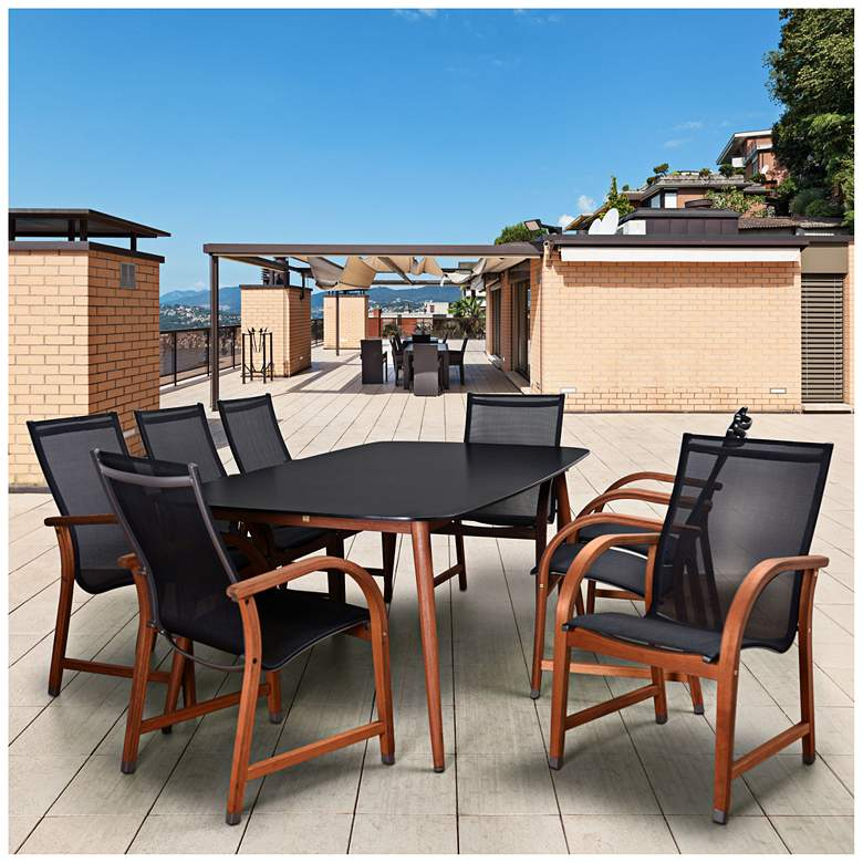 Avignon Black 9-Piece Medium Rectangle Patio Dining Set