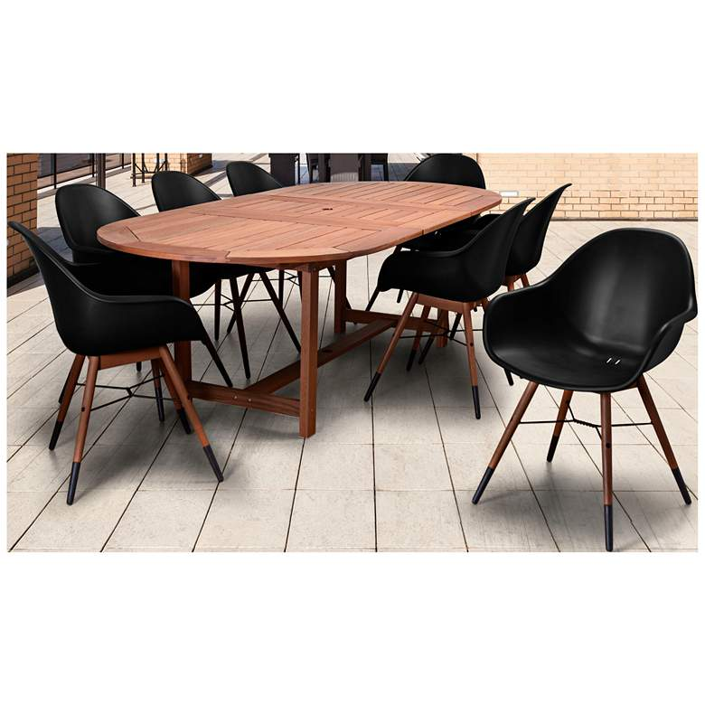 Los Altos Black 9-Pc. Extendable Oval Patio Dining