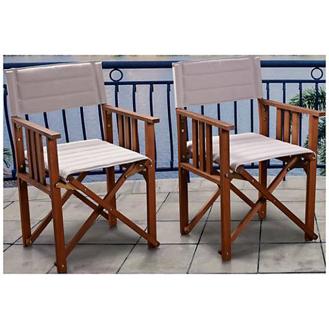 Via Alcazar Khaki Outdoor Patio Director Chair Set of 2