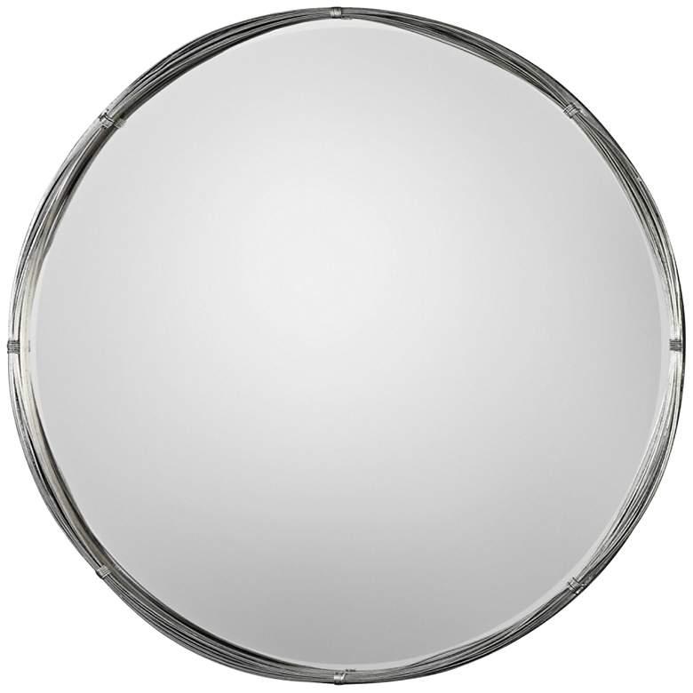 "Uttermost Ohmer Antiqued Silver Leaf 40"" Round Wall Mirror"