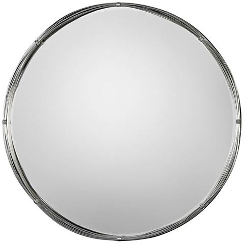 "Uttermost Ohmer Antiqued Silver Leaf 40"" Round Wall Mirror"