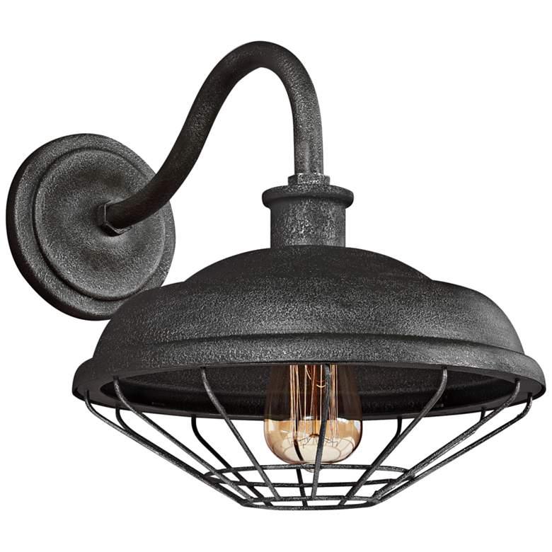 "Lennex 12 1/2""H Slated Gray Metal Indoor-Outdoor Wall Light"
