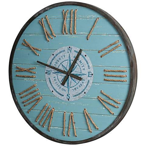 "Cooper Classics Longitude Aqua Blue 31 1/2"" Round Wall Clock"