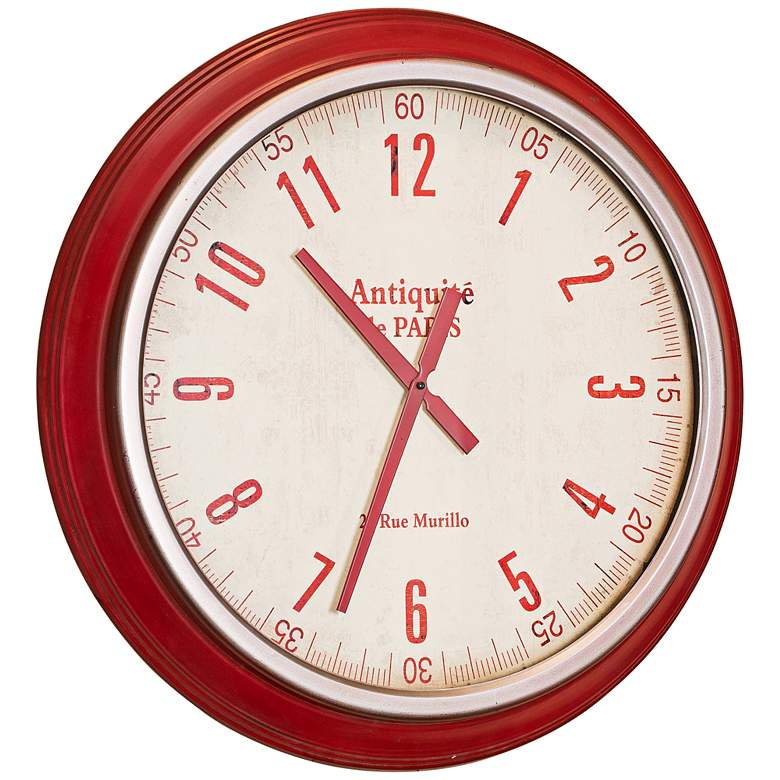 """Cooper Classics Layla Red 26"""" Round Wall Clock"""