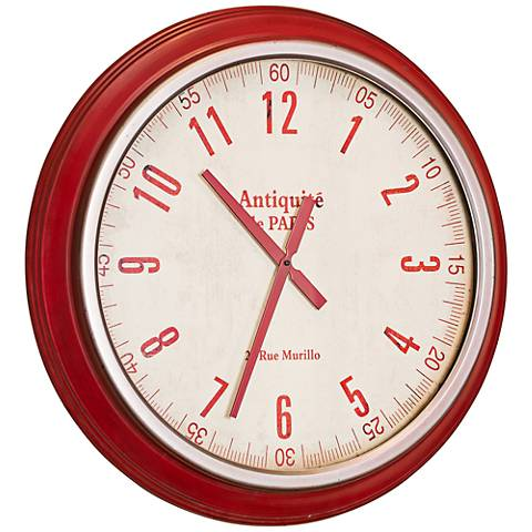 "Cooper Classics Layla Red 26"" Round Wall Clock"