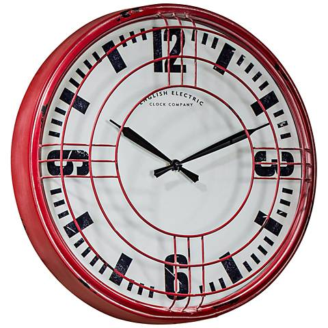 """Cooper Classics Ruby Distressed Red 17"""" Round Wall Clock"""