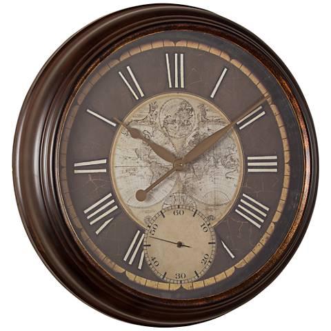 "Cooper Classics Hillis Natural Brown 25"" Round Wall Clock"