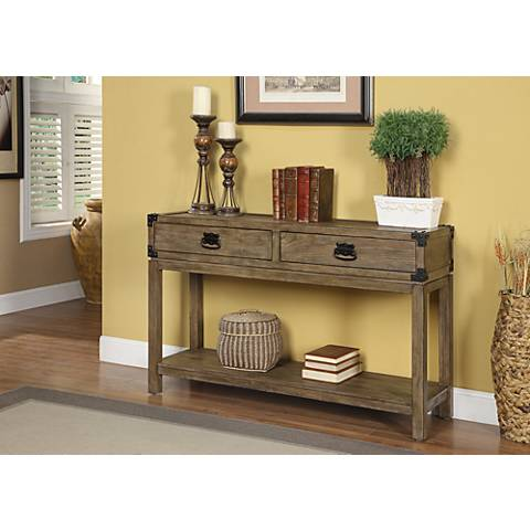 """Cobb 48"""" Wide Carmel Finish 2-Drawer Wood Console Table"""