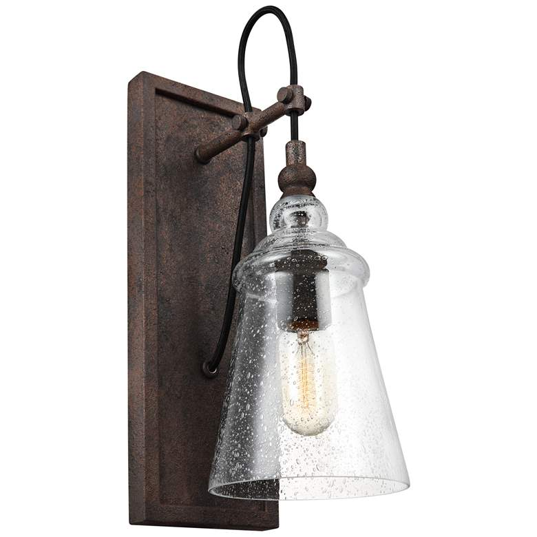 """Feiss Loras 17"""" High Dark Weathered Iron Wall Sconce"""
