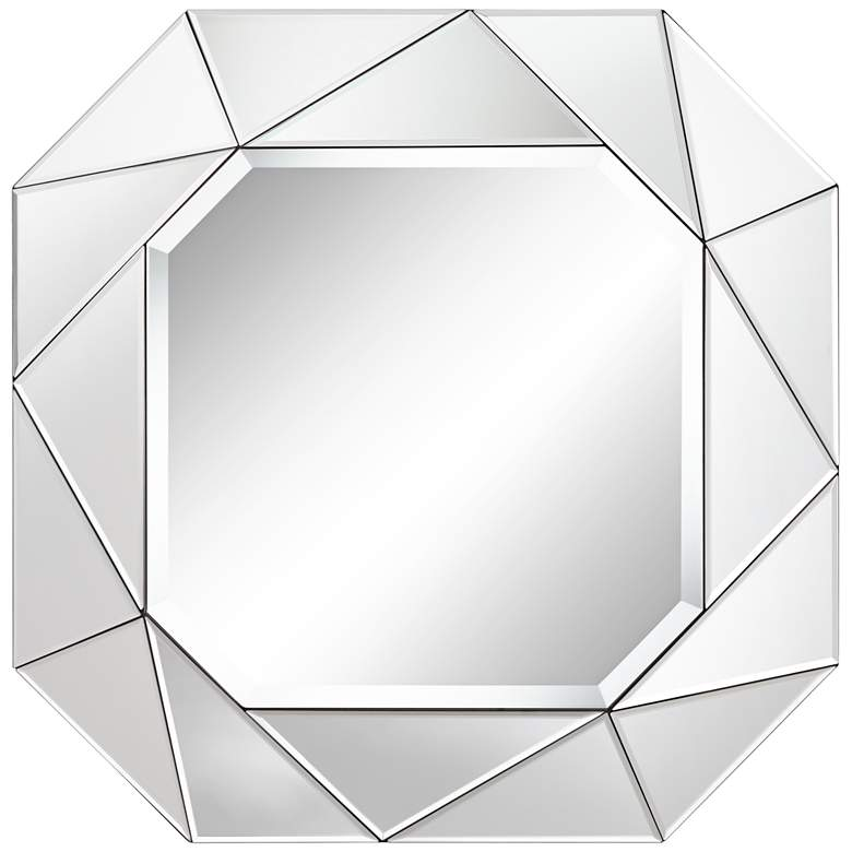 "Geometric 29"" x 29"" Angle Cut Glass Wall Mirror"