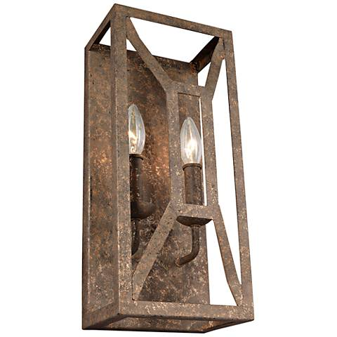 "Marquelle 16"" High 2-Light Distressed Gold Leaf Wall Sconce"