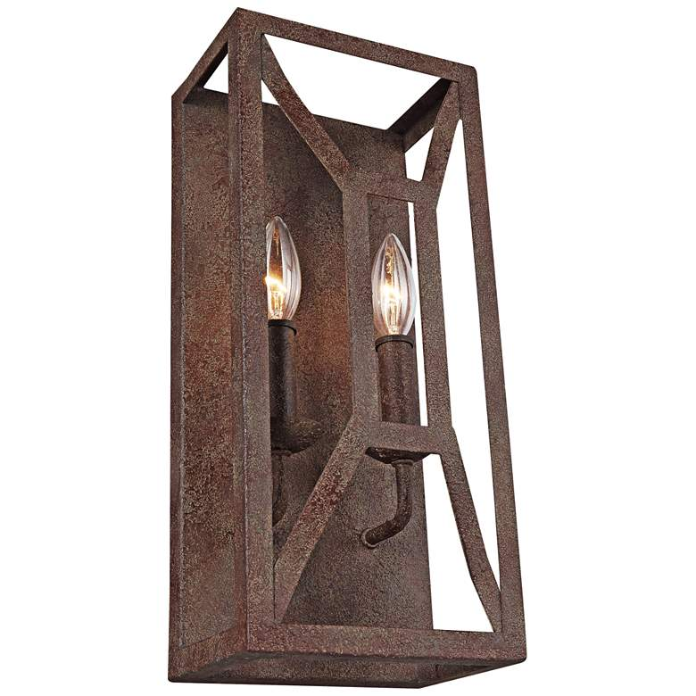 """Feiss Marquelle 16"""" High 2-Light Weathered Iron Wall Sconce"""