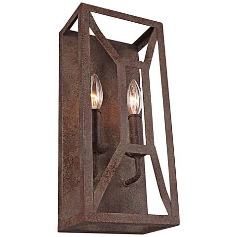 "Feiss Marquelle 16"" High 2-Light Weathered Iron Wall Sconce"