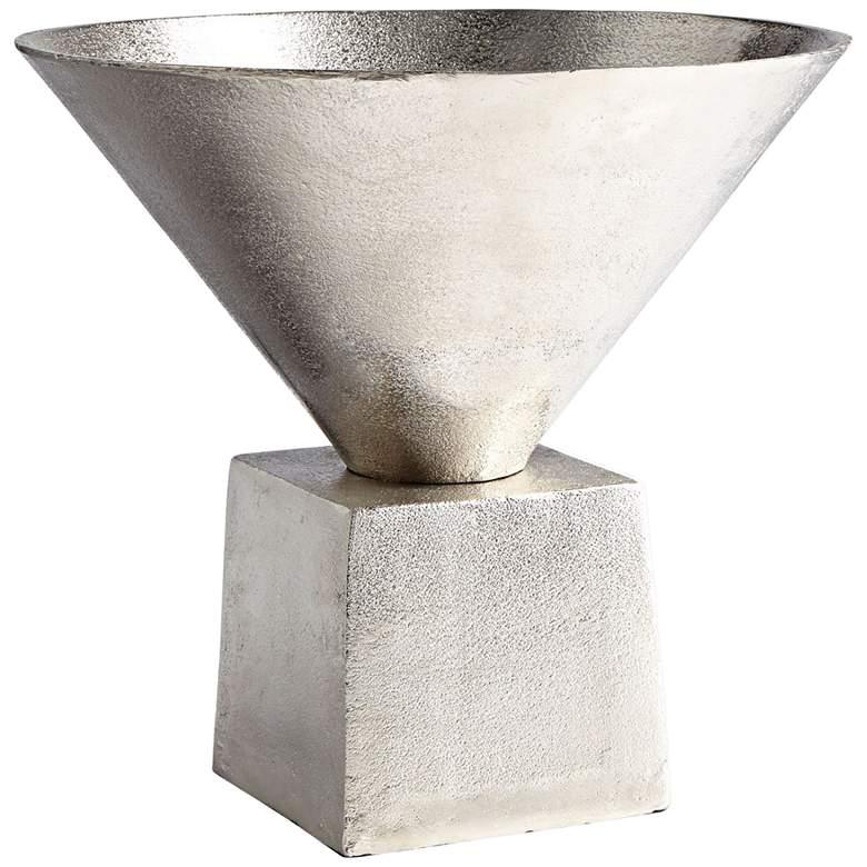 "Cyan Design Mega 12"" Wide Short Raw Nickel Funnel Vase"