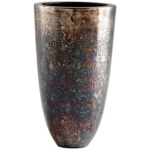 "Cyan Design Inscription Small 10 1/2""H Bronze Patina Vase"