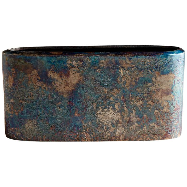"""Inscribed 11 1/4"""" Wide Bronze Patina Oval Modern"""
