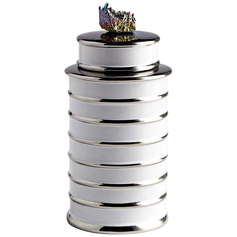 """Cyan Design Tower 10 1/2""""H White Ceramic Container"""