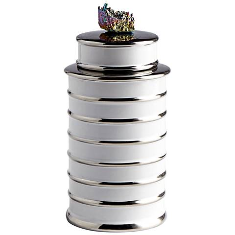 """Cyan Design Tower 10 1/2""""H White Ceramic Container with Lid"""