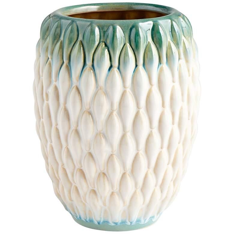 "Cyan Design Verdant Sea 8""H Green and White Ceramic Vase"
