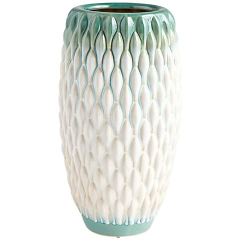 "Cyan Design Verdant Sea 12 3/4""H Green/White Ceramic Vase"