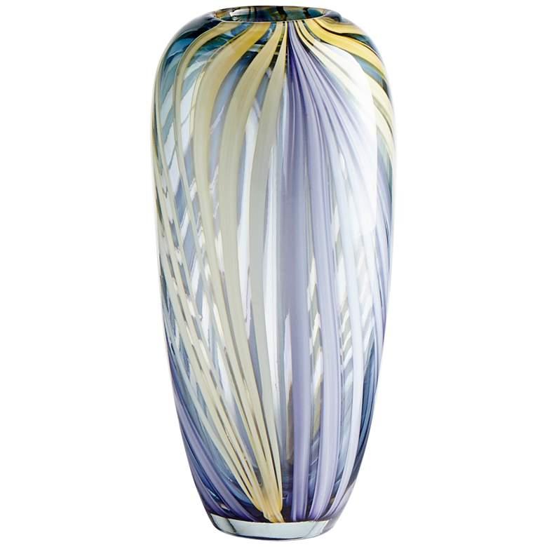 "Cyan Design Rhythm 12"" High Purple and Yellow Glass Vase"