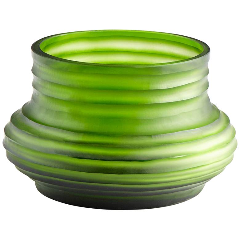 """Cyan Design Leo 8 1/2"""" Wide Small Ribbed Green Glass Vase"""