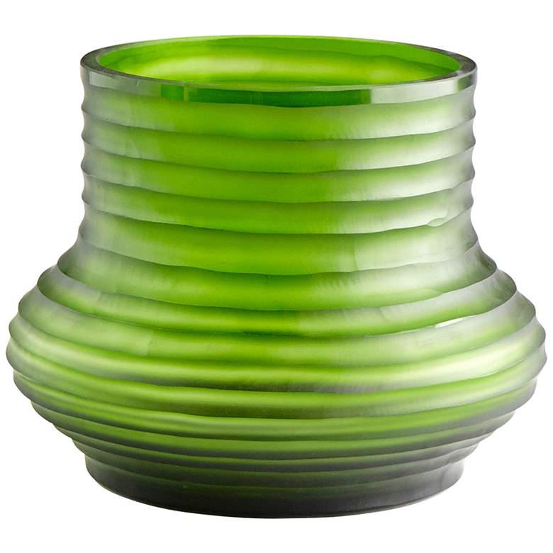 "Cyan Design Leo 9"" Wide Medium Ribbed Green Glass Vase"