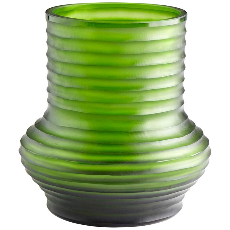 "Cyan Design Leo 9"" High Large Ribbed Green Glass Vase"