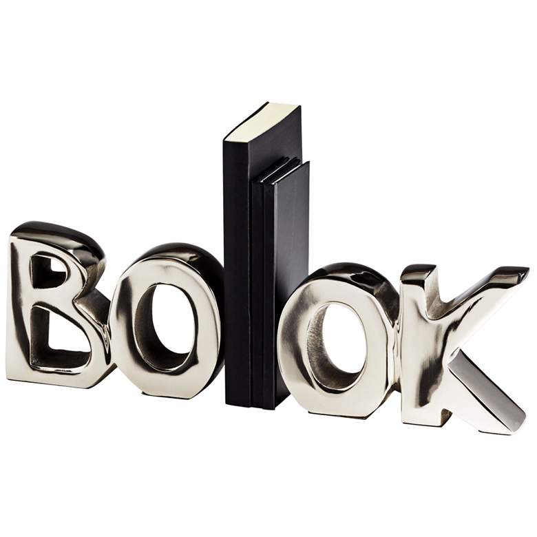 """The Book 14 1/4"""" Wide Polished Nickel Modern Bookends"""
