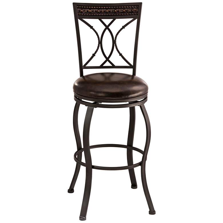 Hillsdale Kirkham Dark Brown Faux Leather Swivel Barstool