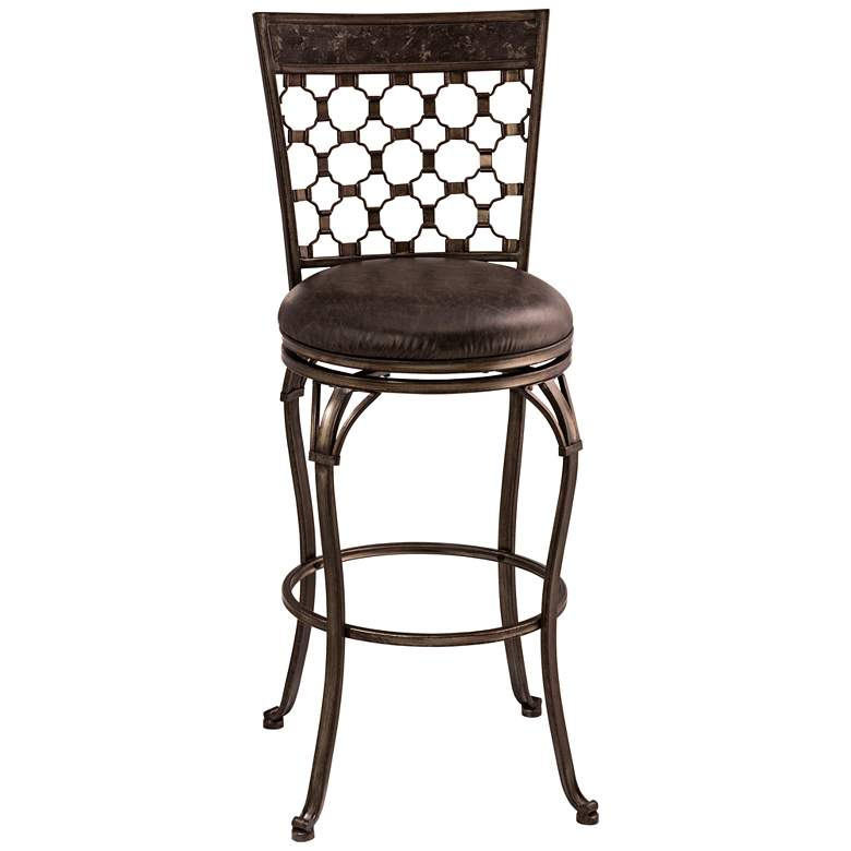 "Brescello 26"" Charcoal Faux Leather Swivel Counter Stool"