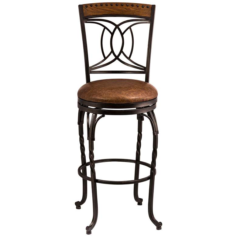 """Hillsdale Donovan 30"""" Brown Faux Leather Swivel Barstool"""