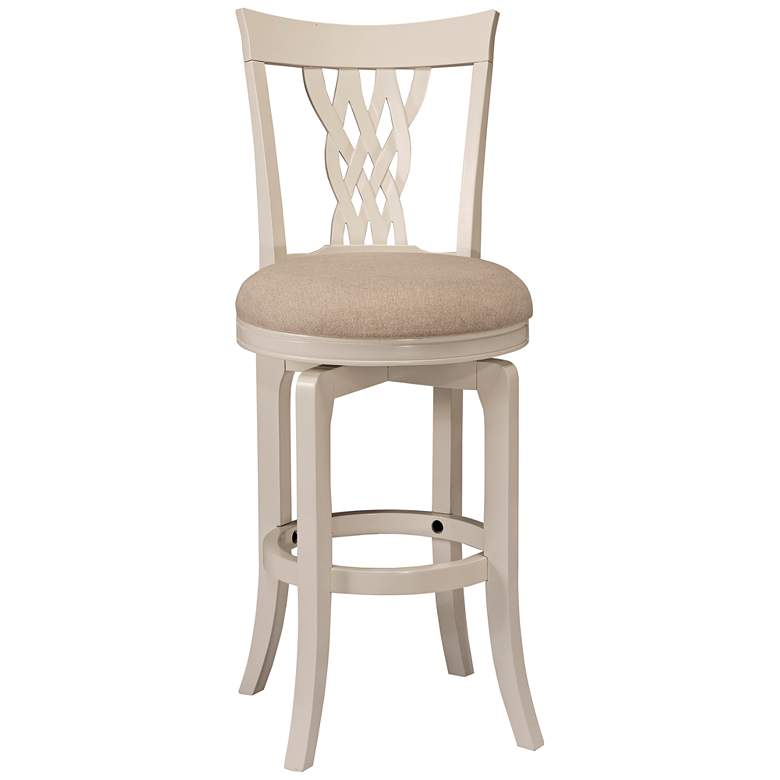 "Hillsdale Embassy 26"" Off-White Fabric Swivel Counter Stool"