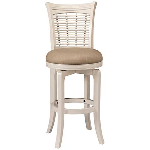 "Bayberry 30"" Off-White Woven Fabric Swivel Barstool"