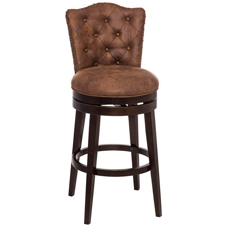 "Hillsdale Edenwood 30"" Chestnut Faux Leather Swivel Barstool"