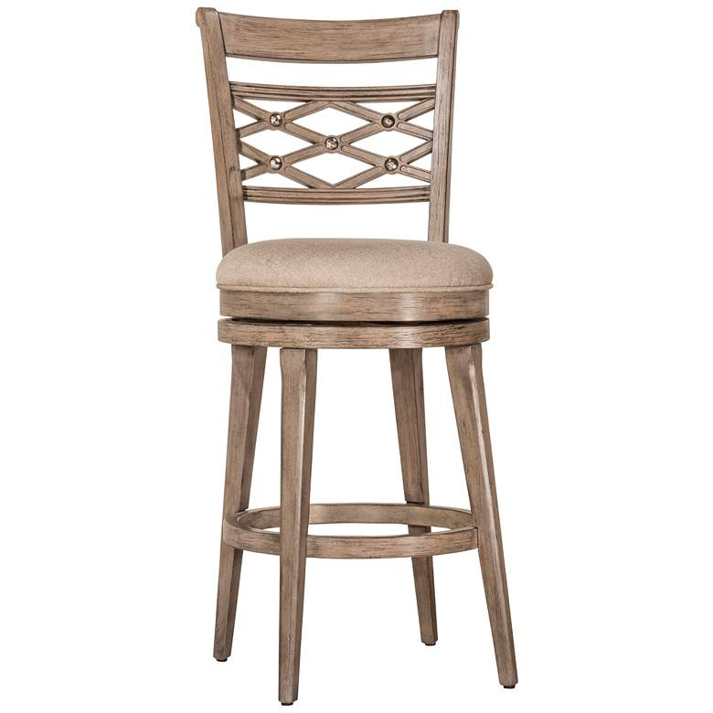 "Hillsdale Chesney 30"" Putty Fabric Swivel Barstool"