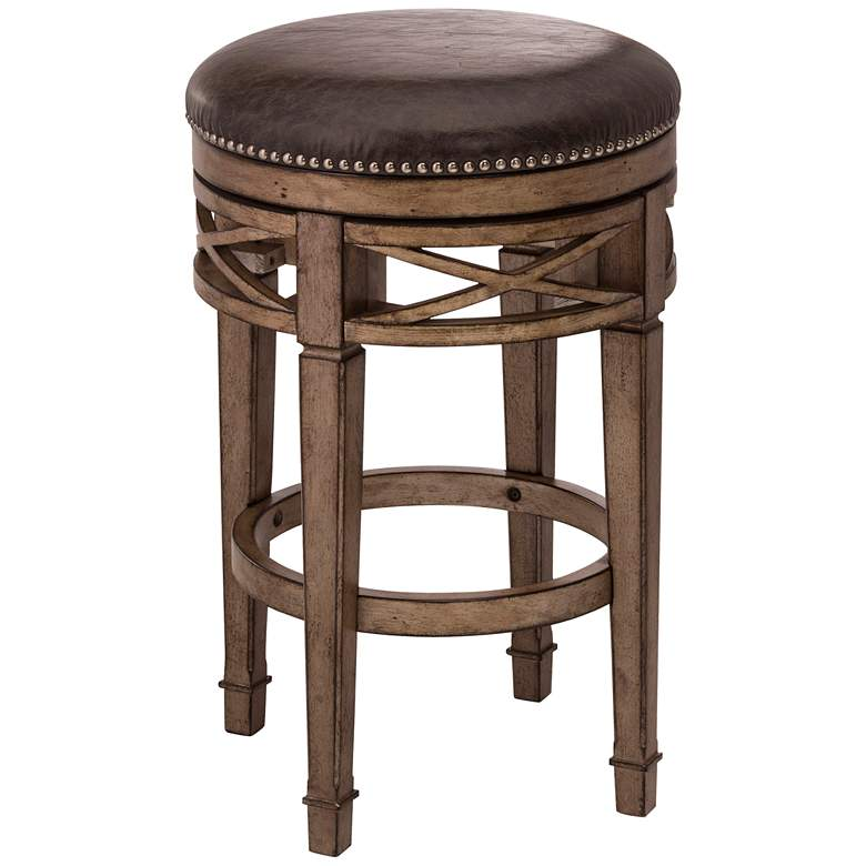 """Chesterfield 26"""" Charcoal Faux Leather Swivel Counter Stool"""