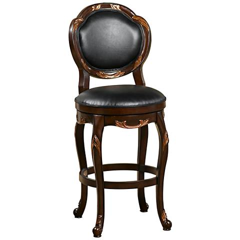 "Hillsdale Alaina 30"" Black Leather Swivel Barstool"