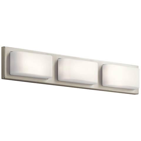 """Elan Kelsi 27"""" Wide Brushed Nickel 3-LED Bath Light"""