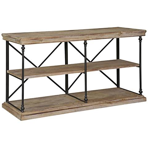 """Crestview 48"""" Wide La Salle Natural Wood and Metal Console"""