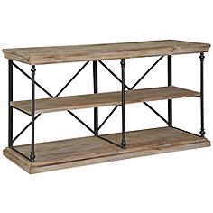 "Crestview 64"" Wide La Salle Natural Wood and Metal Console"
