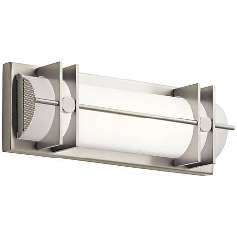 """Elan Nolan 16"""" Wide Brushed Nickel LED Bath Light"""