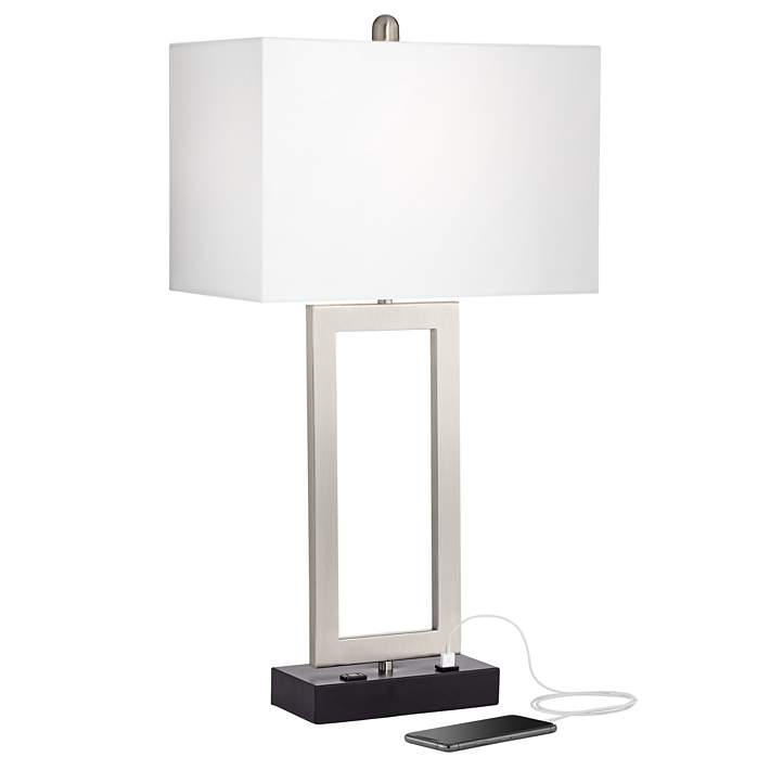 Todd Brushed Nickel Table Lamp With Usb Port And Outlet 19n09 Lamps Plus