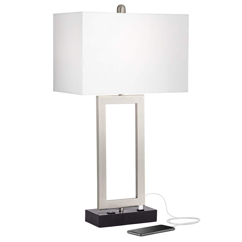 Todd Brushed Nickel Table Lamp with USB Port and Outlet