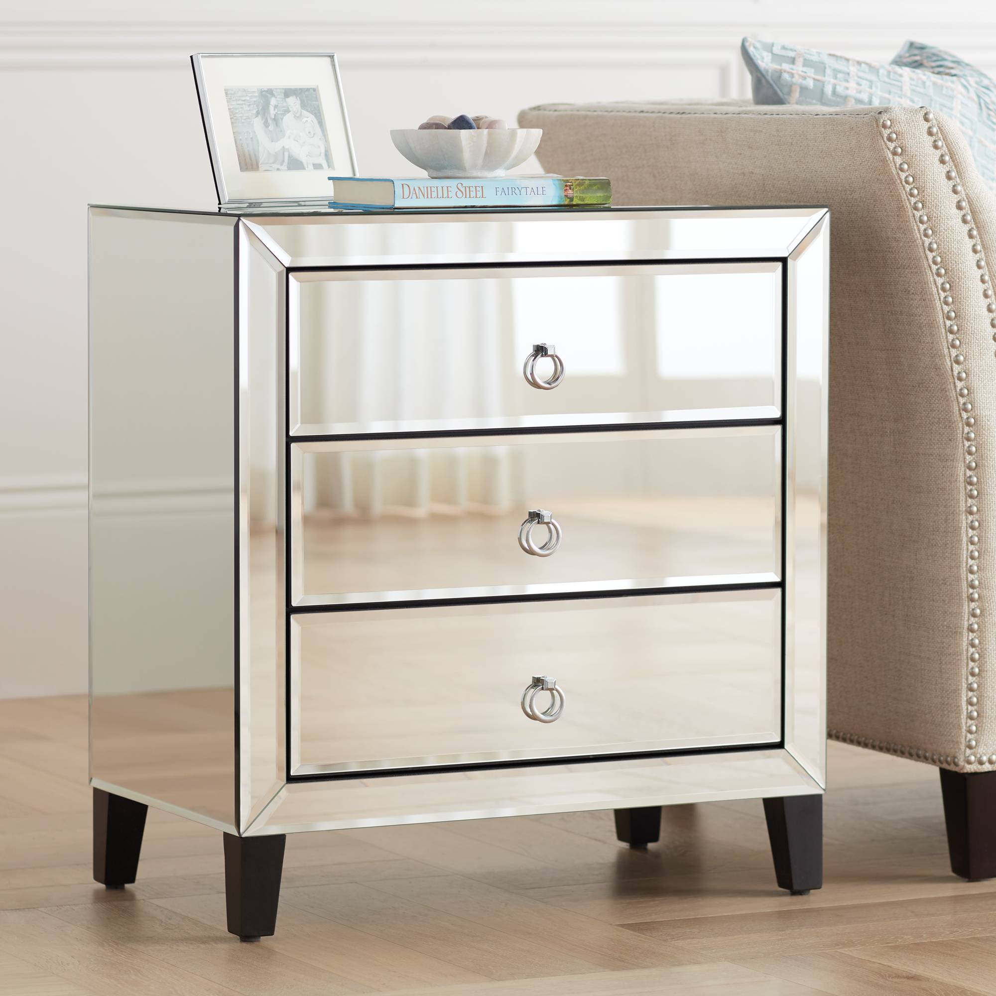 Details About Crestview Collection Bentley Beveled Mirrored 3 Drawer Chest