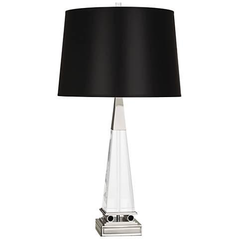 Robert Abbey Darius Nickel Table Lamp with Black Shade