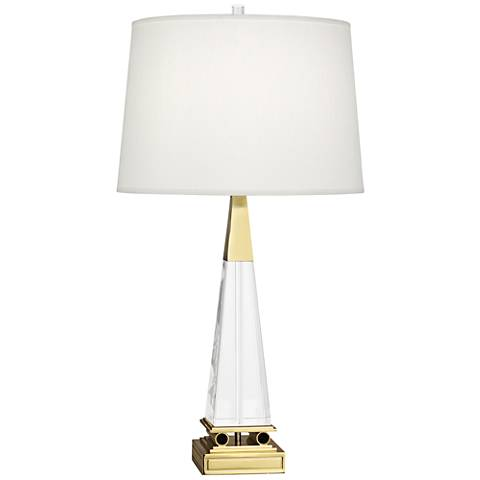 Robert Abbey Darius Brass Table Lamp w/ Pearl Dupioni Shade