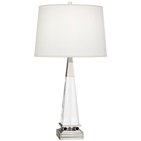 Robert Abbey Darius Nickel Table Lamp w/ Pearl Dupioni Shade