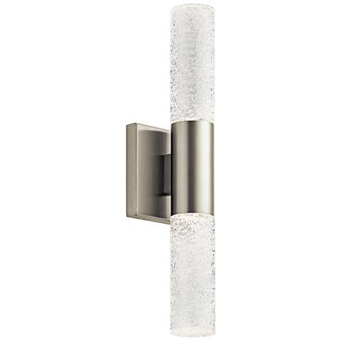 """Glacial Glow™ 12 3/4""""H Nickel 2-LED Wall Sconce"""