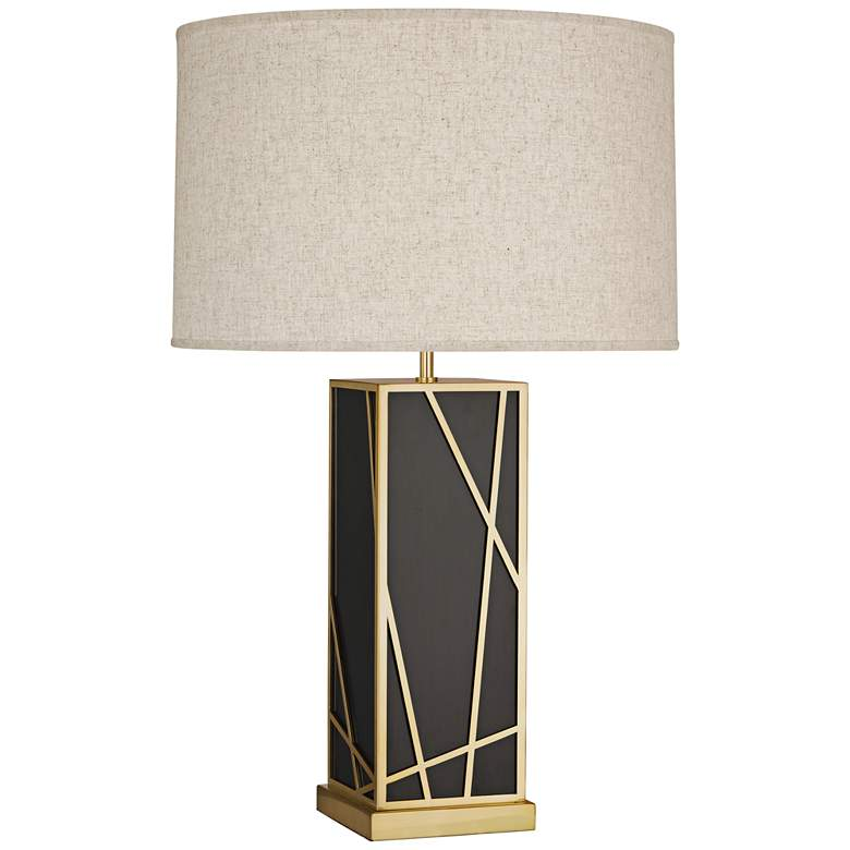 Michael Berman Kerr Bronze Tall Table Lamp w/ Heather Shade